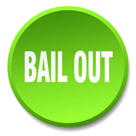 bail: bail out green round flat isolated push button