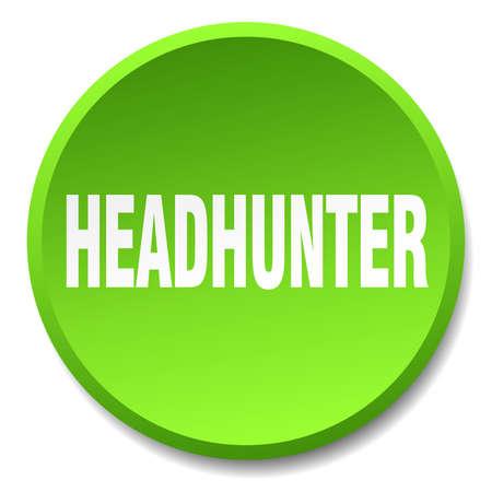 headhunter: headhunter green round flat isolated push button Illustration