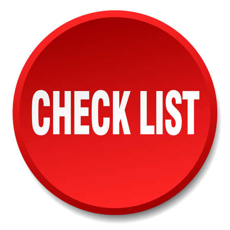 check list: check list red round flat isolated push button