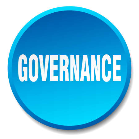 governance: governance blue round flat isolated push button