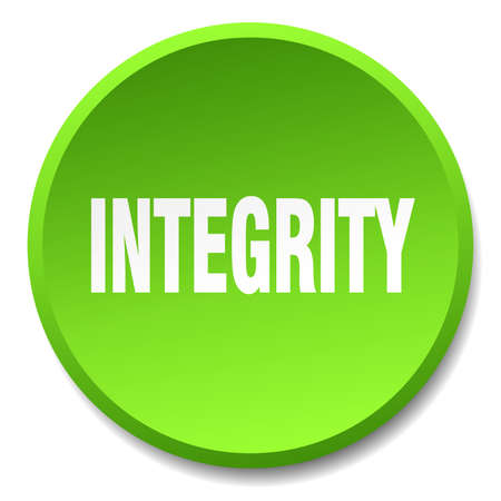integrity: integrity green round flat isolated push button Illustration