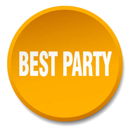 best party: best party orange round flat isolated push button Illustration
