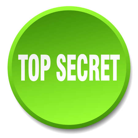 top secret: top secret green round flat isolated push button Illustration