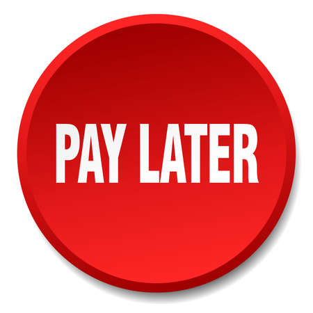 later: pay later red round flat isolated push button Illustration