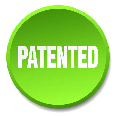 copyrighted: patented green round flat isolated push button Illustration
