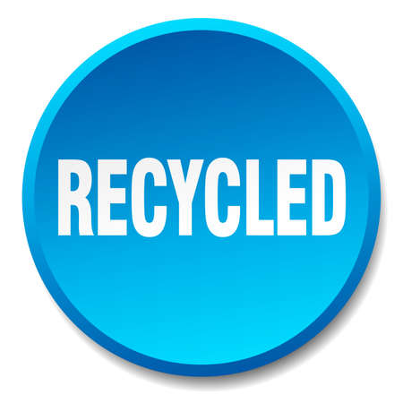 or recycled: recycled blue round flat isolated push button Illustration