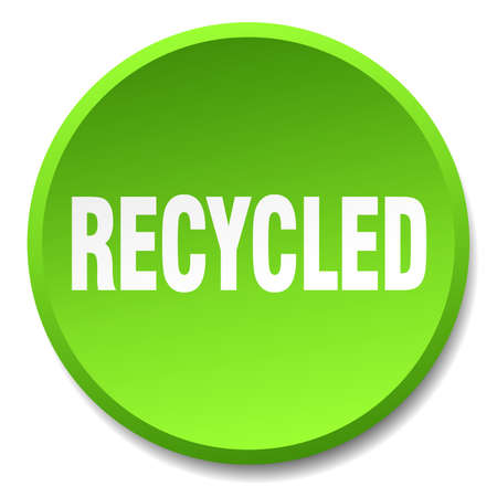 recycled: recycled green round flat isolated push button
