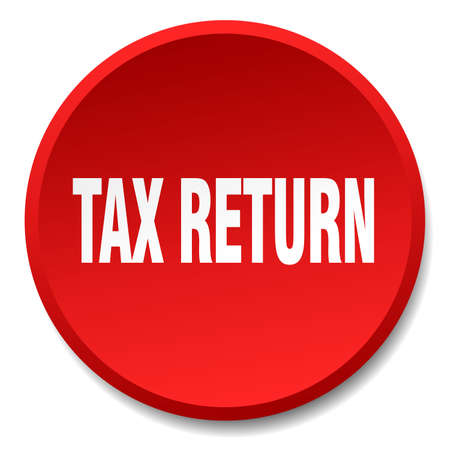 tax return: tax return red round flat isolated push button Illustration