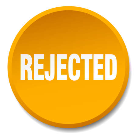 rejected: rejected orange round flat isolated push button