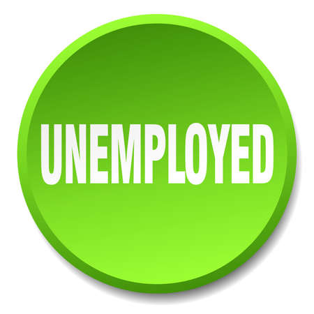 jobless: unemployed green round flat isolated push button Illustration