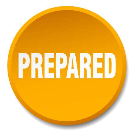 prepared: prepared orange round flat isolated push button