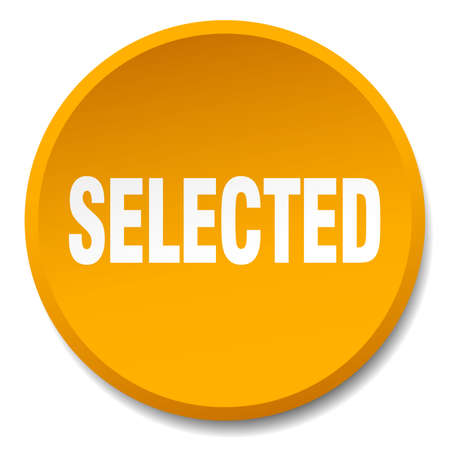 selected: selected orange round flat isolated push button