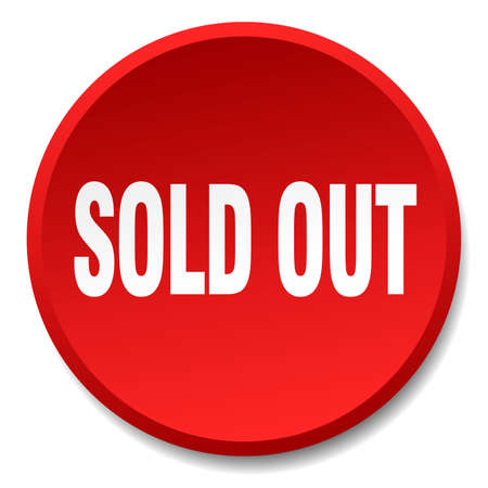 sold isolated: sold out red round flat isolated push button