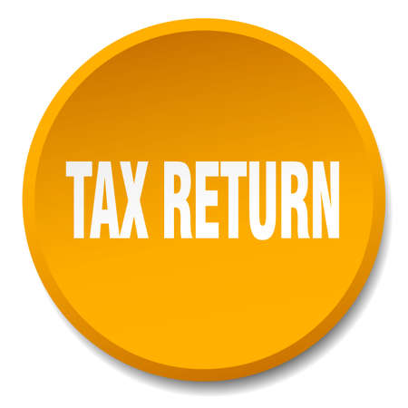 return: tax return orange round flat isolated push button
