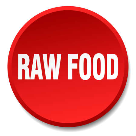 raw food: raw food red round flat isolated push button