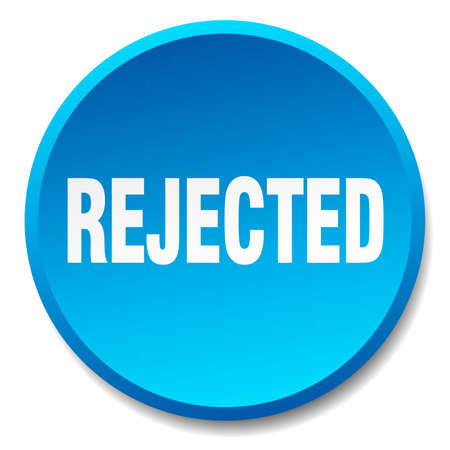 rejected: rejected blue round flat isolated push button Illustration