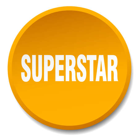 superstar: superstar orange round flat isolated push button