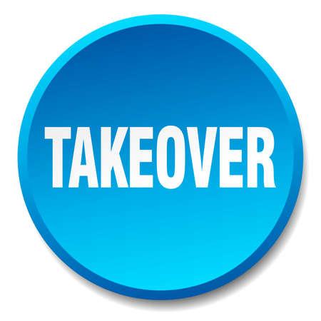 takeover: takeover blue round flat isolated push button