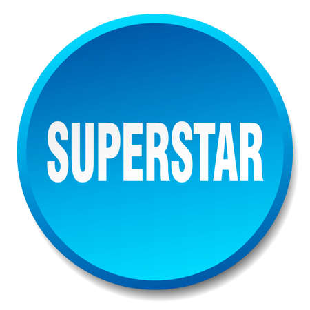 superstar: superstar blue round flat isolated push button