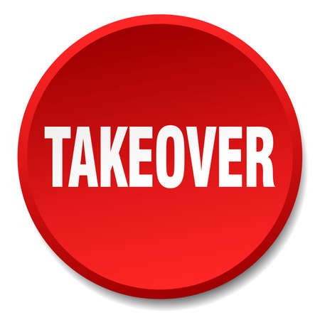 takeover: takeover red round flat isolated push button