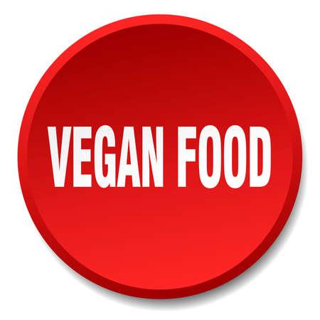 vegan food: vegan food red round flat isolated push button