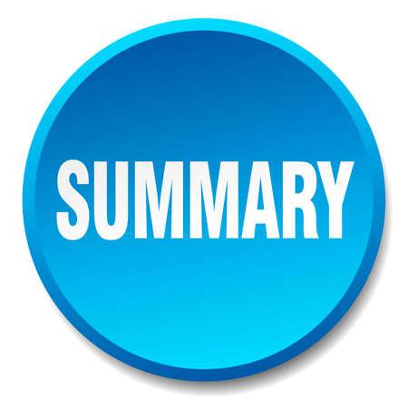 summary: summary blue round flat isolated push button Illustration