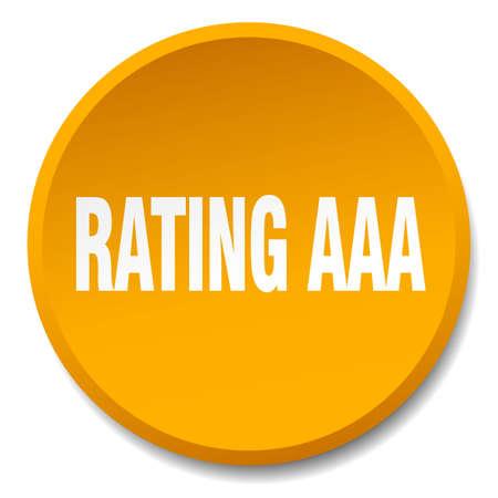 aaa: rating aaa orange round flat isolated push button Illustration