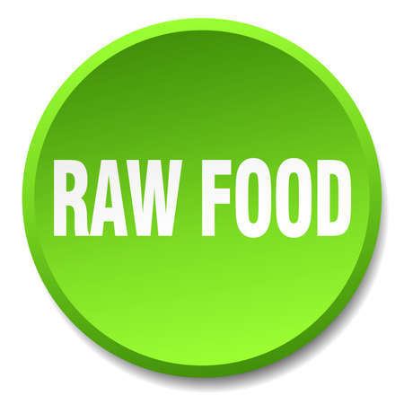 raw food: raw food green round flat isolated push button