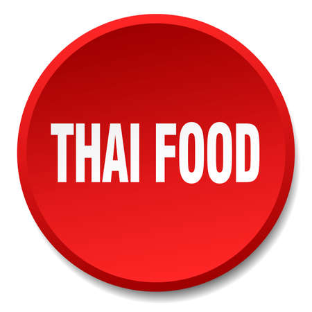 thai food: thai food red round flat isolated push button