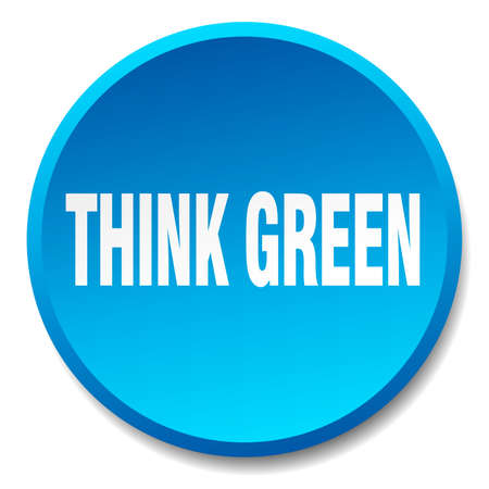 think green: think green blue round flat isolated push button