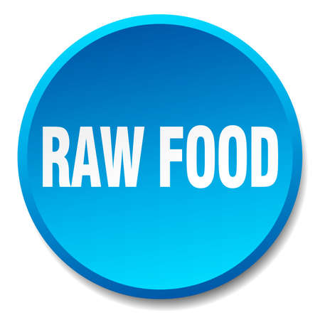 raw food: raw food blue round flat isolated push button