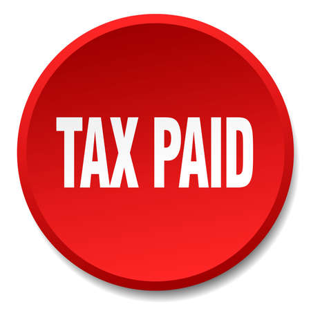 paid: tax paid red round flat isolated push button Illustration