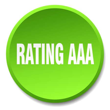 aaa: rating aaa green round flat isolated push button