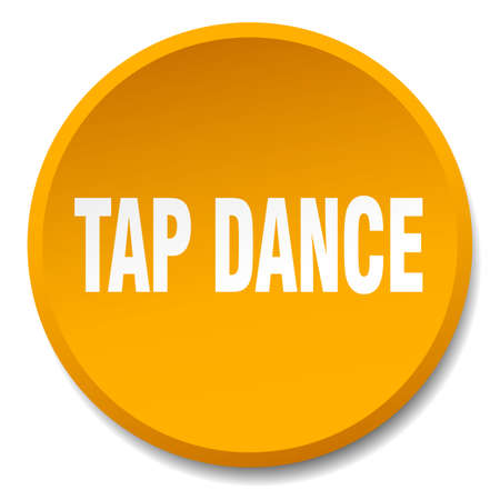 tap dance: tap dance orange round flat isolated push button Illustration