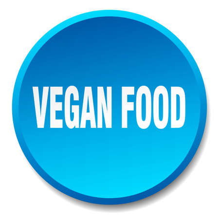 vegan food: vegan food blue round flat isolated push button Illustration