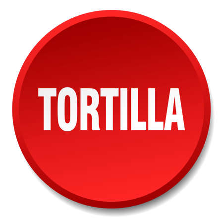 tortilla: tortilla red round flat isolated push button
