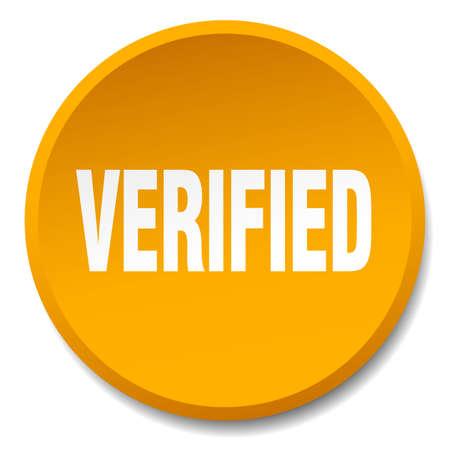 verified: verified orange round flat isolated push button