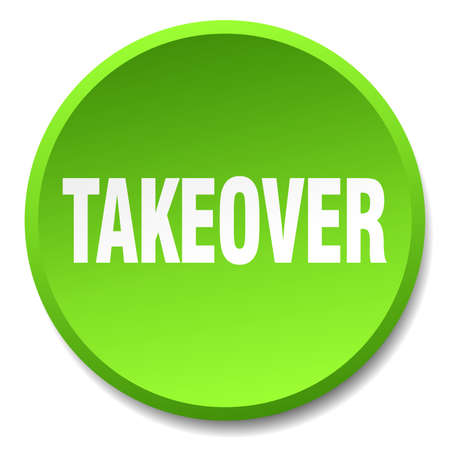 takeover: takeover green round flat isolated push button