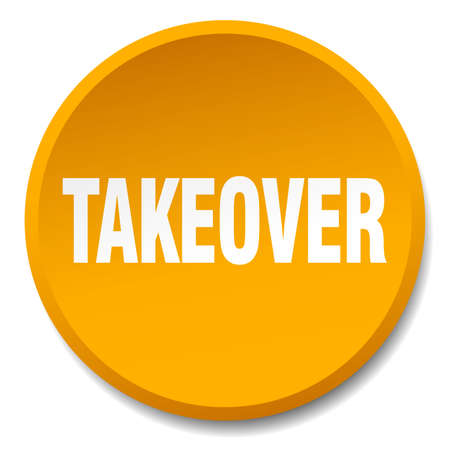 takeover: takeover orange round flat isolated push button Illustration