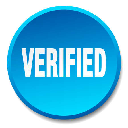 verified: verified blue round flat isolated push button