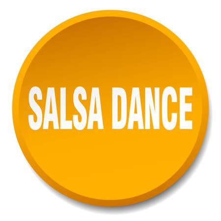 salsa dance: salsa dance orange round flat isolated push button Illustration