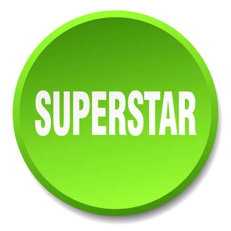 superstar: superstar green round flat isolated push button