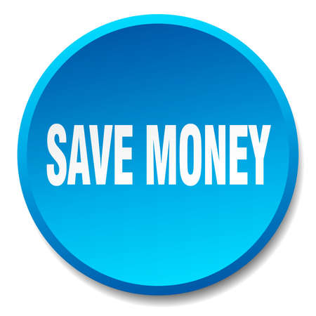 save money: save money blue round flat isolated push button
