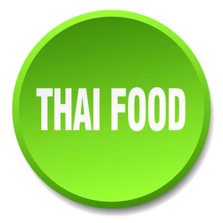 thai food: thai food green round flat isolated push button Illustration