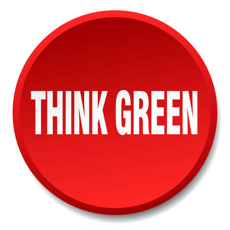 think green: think green red round flat isolated push button Illustration