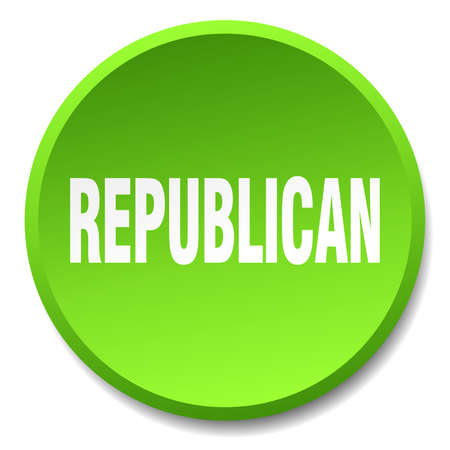 republican: republican green round flat isolated push button