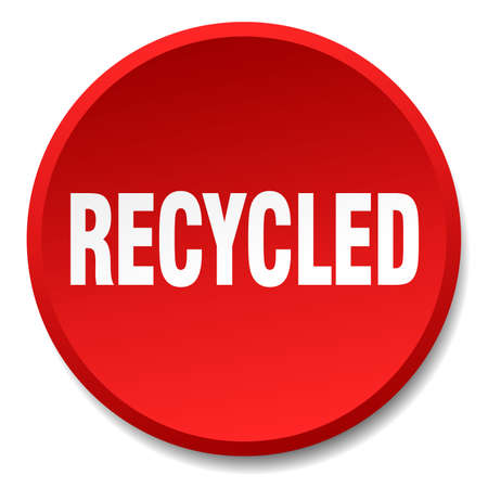 or recycled: recycled red round flat isolated push button Illustration