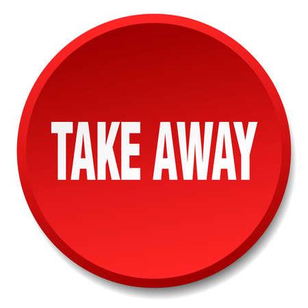take away: take away red round flat isolated push button Illustration