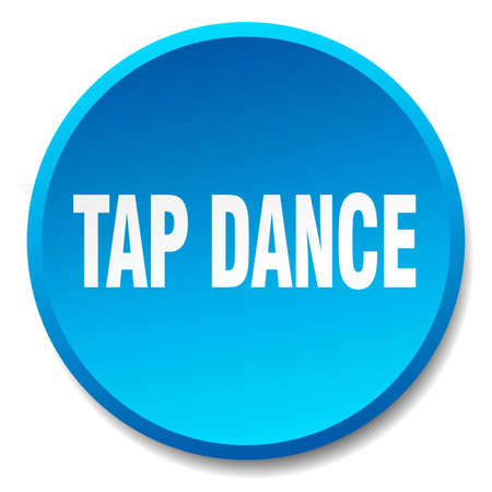 round dance: tap dance blue round flat isolated push button Illustration
