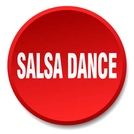 salsa dance: salsa dance red round flat isolated push button